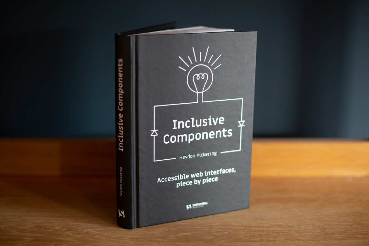 Photo of the Inclusive Components book on a wooden table top