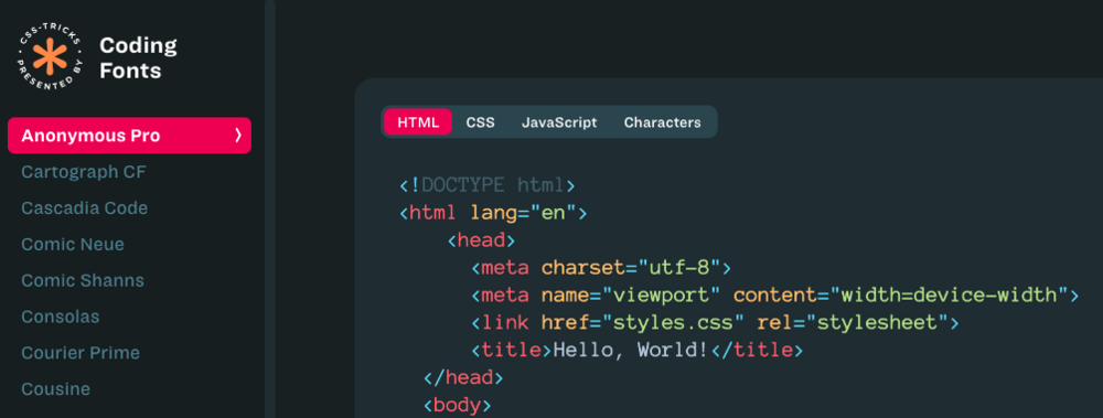 Screenshot of Coding Fonts showing ont list and code preview of a font