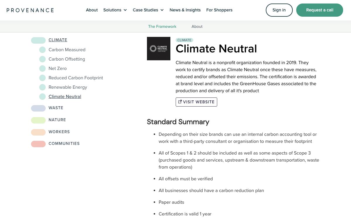 Screenshot of the provenance.org website