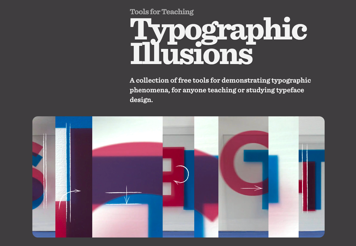 Screenshot of the homepage of Typographic Illusions